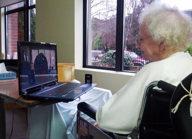 Skyping in Hospital Tea with Grandma